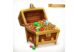 Treasure chest. Gems, coins. Vector