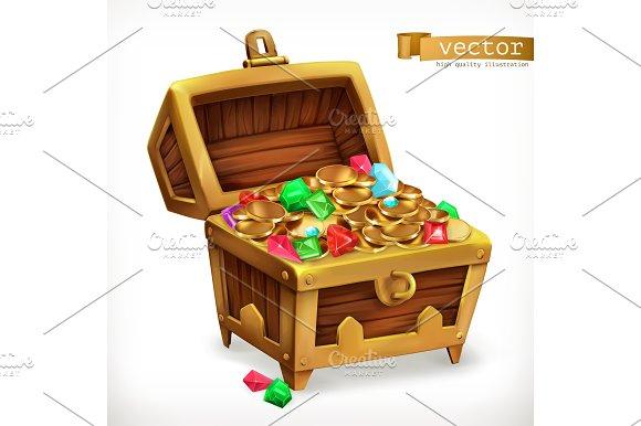 Treasure Chest Gems Coins Vector