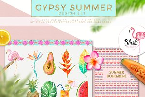 Gypsy Summer Watercolor Graphic Set