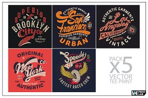PACK OF 5 VINTAGE TEE PRINTS VECTOR