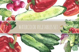 Watercolors vegetables and patterns