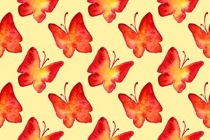 Red butterfly seamless pattern