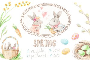 Watercolor rabbits set + patterns