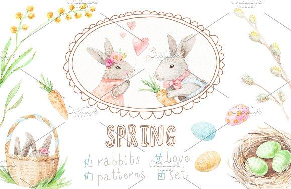 Watercolor Rabbits Set Patterns