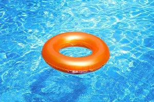 Orange pool float