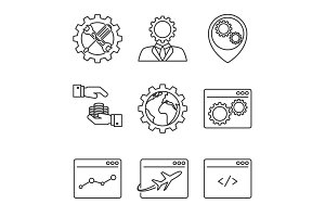 Internet marketing line icons