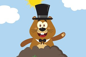 Marmot Character With Cylinder Hat