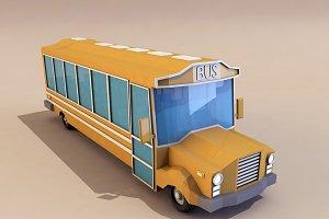 Cartoon School Bus low poly 3D model