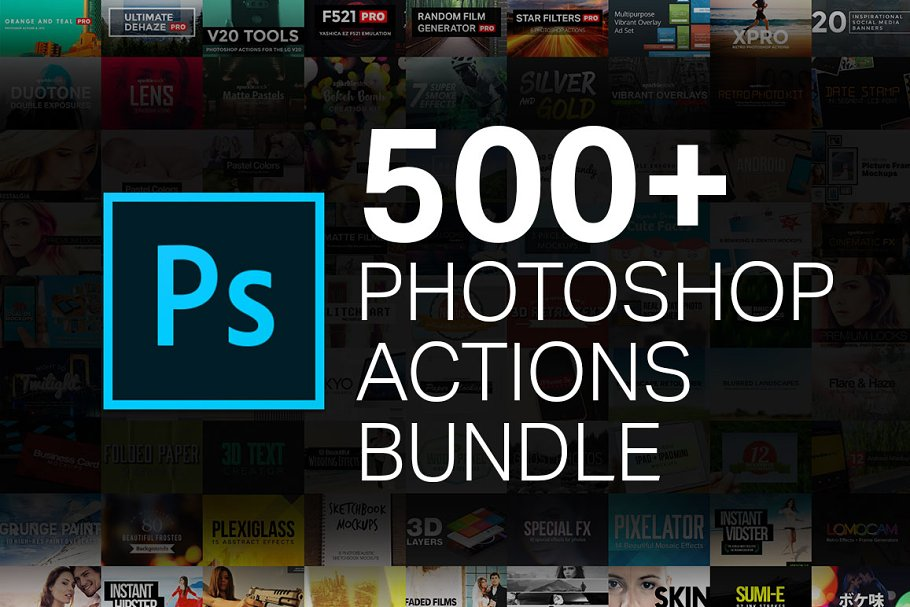 90% OFF 500+ Action Bundle ~ Photoshop Add-Ons ~ Creative Market