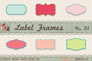 Retro Label Frames Shapes Set No 21