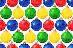 Watercolor Christmas ball pattern