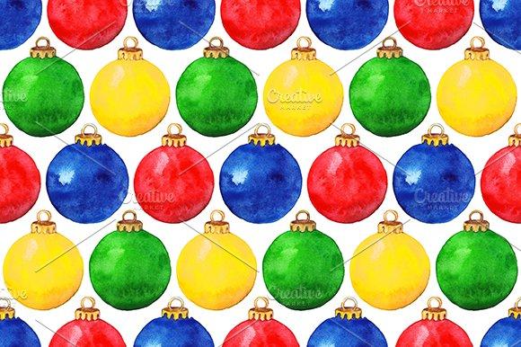 Watercolor Christmas Ball Pattern