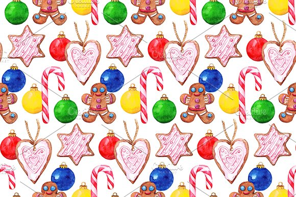 Watercolor New Year Seamless Pattern