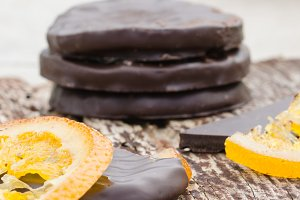 Orange slices covered with chocolate