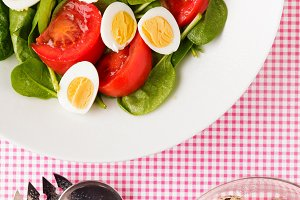 Easter Spring salad with quail eggs