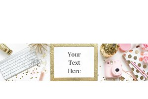Pink and Gold Etsy Banner Stock