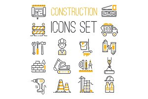 Linear black yellow construction icons set universal web and mobile basic ui elements and worker equipment flat industry tools vector illustration.