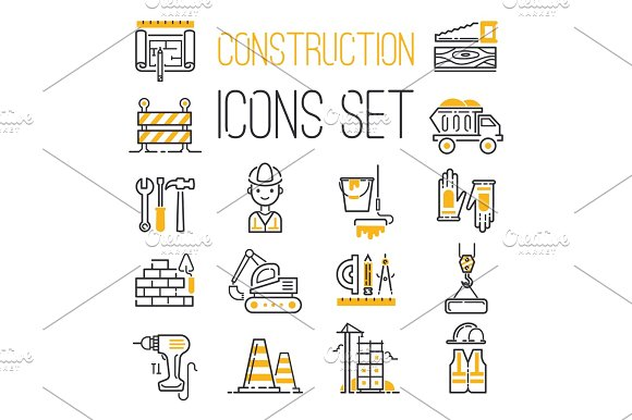 Linear Black Yellow Construction Icons Set Universal Web And Mobile Basic Ui Elements And Worker Equipment Flat Industry Tools Vector Illustration