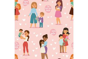 Mother and children with flower bouquet mothers and womans day vector seamless pattern
