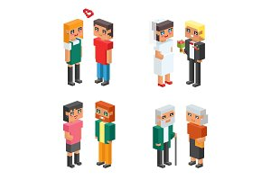 3d isometric family couple children kids people flat icons flirting love first date wedding parenting together vector square illustration man woman