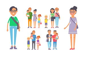 Family people adult happiness smiling group togetherness parenting concept and casual parent, cheerful, lifestyle happy character vector illustration.