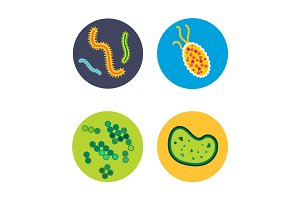 Bacteria virus microscopic isolated microbes icon human microbiology organism and medicine infection biology illness pathogen mold vector illustration.