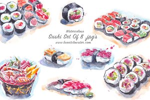 Sushi Watercolour Set of 8