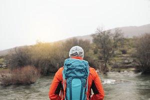 Young Backpacker enjoying of Nature