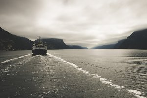 Ferry in the fjord, Norway
