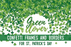 Green clover frames and borders