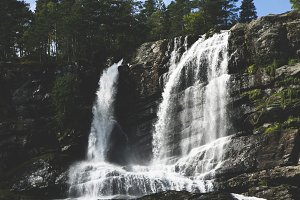 Waterfall with trees, Norway