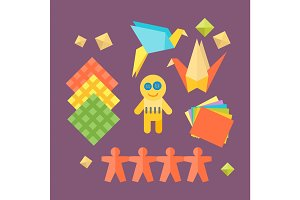 Themed kids origami creativity creation symbols poster in flat style with artistic objects for children art school fest unusual toys network vector illustration.