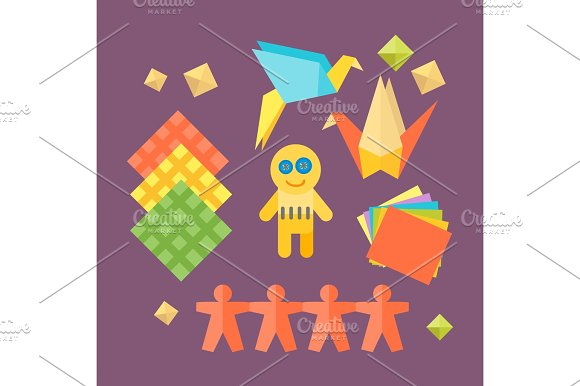 Themed Kids Origami Creativity Creation Symbols Poster In Flat Style With Artistic Objects For Children Art School Fest Unusual Toys Network Vector Illustration
