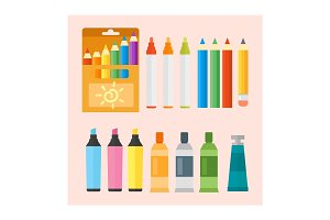Colored engineering paints and pencils vector illustration simple equipment school supplies subject secretarial tools pastel vertical color education sign.