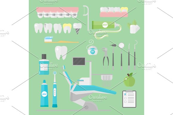 Flat Health Care Dentist Symbols Research Medical Tools Healthcare System Concept And Medicine Instrument Hygiene Stomatology Engineering Vector Illustration
