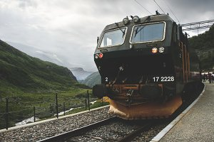 Green train in Flam. Norway