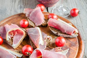 Sandwiches with italian ham