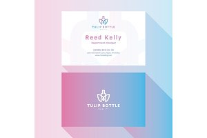 Business Card Qualitative elegant vector logo, and professional layout tulip bottle
