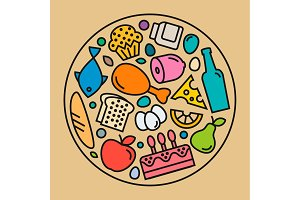 Food icons, quality flat style, logo illustration set