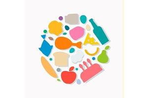Quality Food icons, Flat style, logo vector illustration set