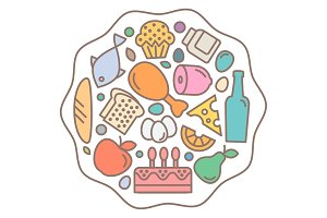 Flat Food icons, quality style, logo vector illustration set