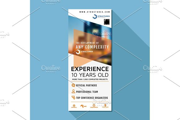 Roll Up Vector Design Business Stand Banner Stand Poster Illustration