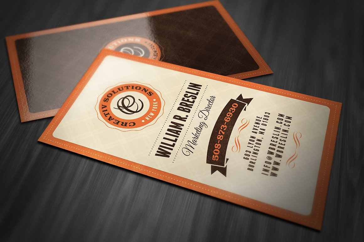 Retro business card business card templates creative market wajeb