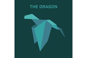 Origami Dragon Animals vector illustration flat