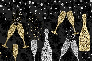 Diamond Champagne Clipart