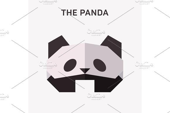 Panda Animals Origami Vector Illustration Flat Polygons