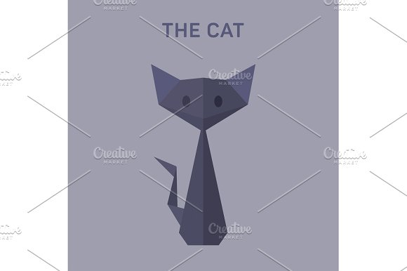 Cat Animals Origami Vector Illustration Flat Low Poly