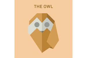 Polygon Animals Origami Owl vector illustration flat Low Poly