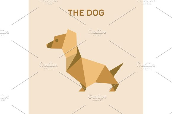 Dachshund Dog Basset Flat Origami Vector Illustration Low Poly