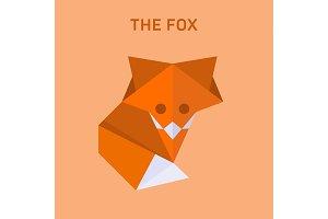 Fox origami vector illustration of flat polygons